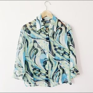 abstract semi sheer pucci style vintage blouse